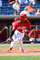 Philadelphia Phillies outfielder Odubel Herrera (37) during an exhibition game against the University of Tampa on March 1, 2015 at Bright House Field in Clearwater, Florida.  University of Tampa defeated Philadelphia 6-2.  (Mike Janes/Four Seam Images)