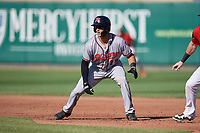 Richmond Flying Squirrels Gio Brusa (28) leads off first base during an Eastern League game against the Erie SeaWolves on August 28, 2019 at UPMC Park in Erie, Pennsylvania.  Richmond defeated Erie 6-4 in the first game of a doubleheader.  (Mike Janes/Four Seam Images)