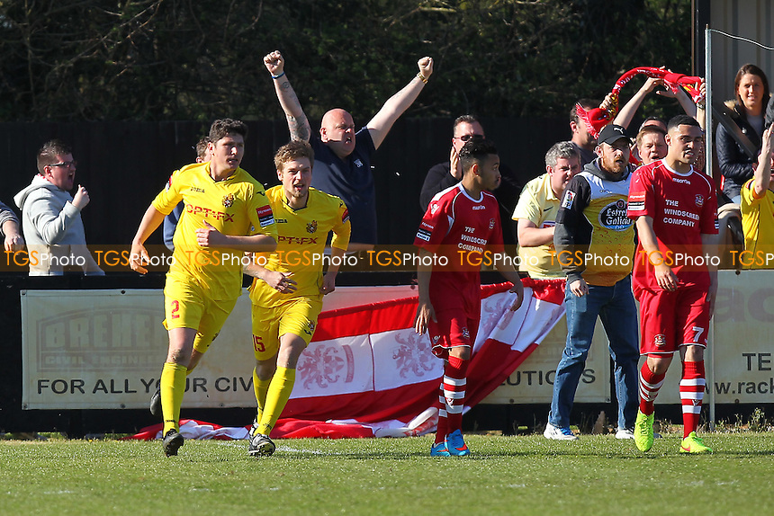Harlow celebrate their second goal scored by Craig Pope (L) - Needham Market vs Harlow Town - Ryman League Division One North Football at Bloomfields, Needham Market, Suffolk  - 18/04/15 - MANDATORY CREDIT: Gavin Ellis/TGSPHOTO - Self billing applies where appropriate - contact@tgsphoto.co.uk - NO UNPAID USE