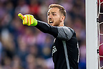 Goalkeeper Jan Oblak of Atletico de Madrid reacts during their La Liga match between Atletico de Madrid vs Real Sociedad at the Vicente Calderon Stadium on 04 April 2017 in Madrid, Spain. Photo by Diego Gonzalez Souto / Power Sport Images