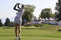 Nellie Korda (USA) tees off the par3 16th tee during Thursday's Round 1 of The Evian Championship 2018, held at the Evian Resort Golf Club, Evian-les-Bains, France. 13th September 2018.<br /> Picture: Eoin Clarke | Golffile<br /> <br /> <br /> All photos usage must carry mandatory copyright credit (&copy; Golffile | Eoin Clarke)