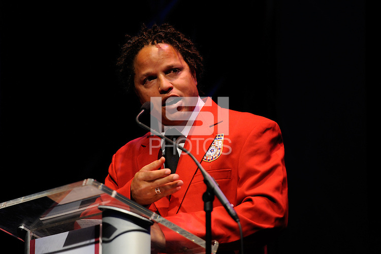 Hall of Fame inductee Cobi Jones gives his acceptance speach during the 2011 National Soccer Hall of Fame induction ceremony in Foxborough, MA, on June 04, 2011.