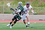 Palos Verdes, CA 04/20/10 - Tom Farrell (Mira Costa #18) and Tommy O'Hern (Palos Verdes #9) in action during the Mira Costa-Palos Verdes boys lacrosse game.