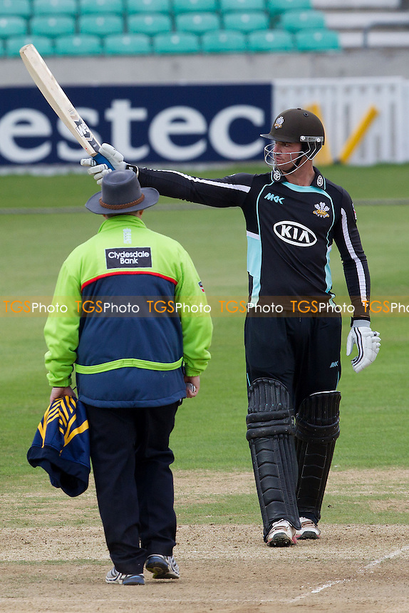 Tom Maynard, Surrey CCC acknowledges his half century - Surrey Lions vs Durham Dynamos - Clydesdale Bank CB40 Cricket at The Kia Oval, London - 20/05/12 - MANDATORY CREDIT: Ray Lawrence/TGSPHOTO - Self billing applies where appropriate - 0845 094 6026 - contact@tgsphoto.co.uk - NO UNPAID USE.