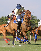 WELLINGTON, FL - FEBRUARY 05:  Joaquin Panelo #2 of Valiente II,  controls the ball down the field, during one of the early matches of the Ylvisaker Cup at the International Polo Club Palm Beach on February 05, 2017 in Wellington, Florida. (Photo by Liz Lamont/Eclipse Sportswire/Getty Images)