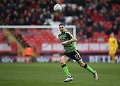 24th March 2018, The Valley, London, England;  English Football League One, Charlton Athletic versus Plymouth Argyle; Aaron Taylor-Sinclair of Plymouth Argyle watches the incoming pass