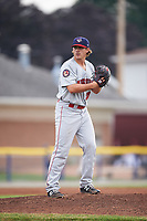 Auburn Doubledays starting pitcher Ben Braymer (33) gets ready to deliver a pitch during a game against the Batavia Muckdogs on July 6, 2017 at Dwyer Stadium in Batavia, New York.  Auburn defeated Batavia 4-3.  (Mike Janes/Four Seam Images)