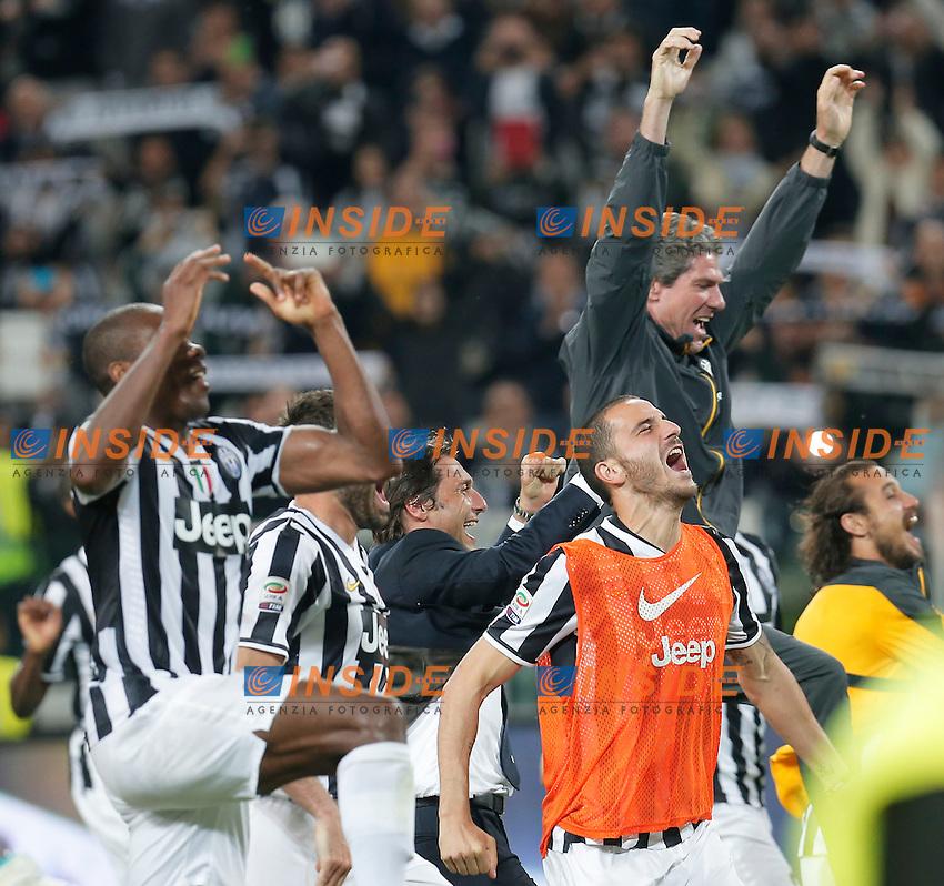 Esultanza festeggiamenti scudetto Juventus, Celebration, Torino 5-5-2014, Juventus Stadium, Football Calcio 2013/2014 Serie A, Juventus - Atalanta, Foto Marco Bertorello/Insidefoto