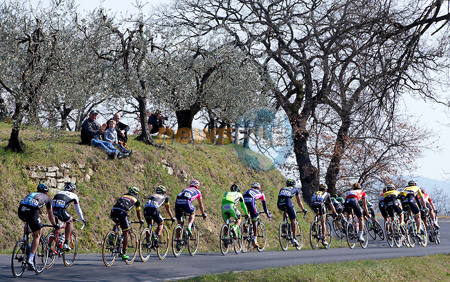 Action from Stage 3 of the 2015 Tirreno-Adriatico cycle race running 203km from Càscina to Arezzo, Italy. 13th March 2015. Photo: ANSA/Claudio Peri/www.newsfile.ie