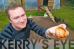 Adrian Sheehan, Crohane, Fossa, pictured with his double egg, which is known as Ovum in Ovo, which was laid by one of his hens on Thursday last.