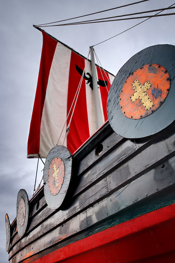 Replica of Viking ship Vallhalla at Bojer Wikan Fishermen's Memorial Park, Petersburg, Alaska, USA