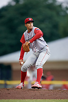 Williamsport Crosscutters relief pitcher Francisco Morales (48) delivers a pitch during a game against the Batavia Muckdogs on June 22, 2018 at Dwyer Stadium in Batavia, New York.  Williamsport defeated Batavia 9-7.  (Mike Janes/Four Seam Images)