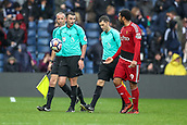 30th September 2017, The Hawthorns, West Bromwich, England; EPL Premier League football, West Bromwich Albion versus Watford; Troy Deeney of Watford questions the ref as they walk off after the first half