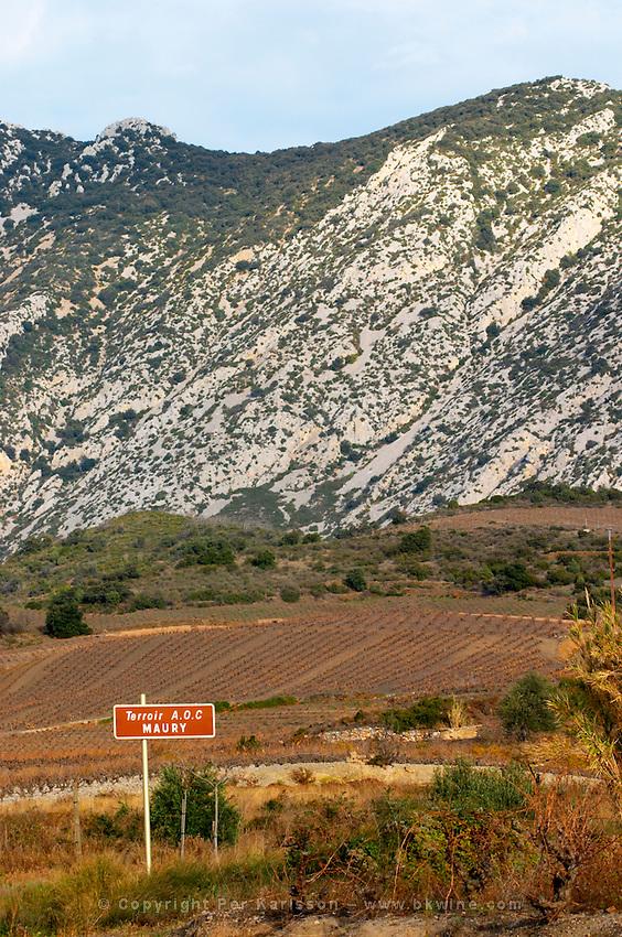 Terroir AOC Maury. Maury. Roussillon. France. Europe. Vineyard.