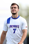 28 August 2015: DePaul's Hans Wustling (GER). The Elon University Phoenix played the DePaul University Blue Demons at Koskinen Stadium in Durham, NC in a 2015 NCAA Division I Men's Soccer match. Elon won the game 4-0.