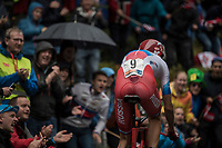 Ilnur Zakarin (RUS/Katusha) up Mount Fløyen<br /> <br /> Men Elite Individual Time Trial<br /> <br /> UCI 2017 Road World Championships - Bergen/Norway