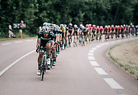 Team Bora-Hansgrohe trying to lower the gap with the breakaway group<br /> <br /> Stage 5: Grenoble &gt; Valmorel (130km)<br /> 70th Crit&eacute;rium du Dauphin&eacute; 2018 (2.UWT)
