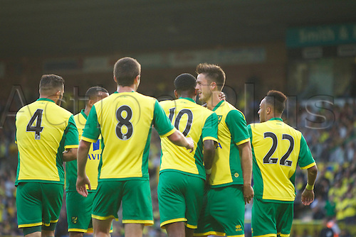 06.08.13 Norwich, England.   Norwich City players celebrate during the Pre Season Friendly between Norwich and Real Sociedad from Carrow Road.