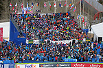 December 1, 2017:  Ski racing fans pack the stadium finish area for the Super G competition during the FIS Audi Birds of Prey World Cup, Beaver Creek, Colorado.
