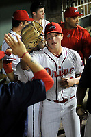 Relief pitcher Brendan Nail (10) of the Greenville Drive is greeted in the dugout after closing out a scoreless inning in Game 4 of the South Atlantic League Championship Series against the Kannapolis Intimidators on Friday, September 15, 2017, at Fluor Field at the West End in Greenville, South Carolina. Greenville won 8-3 for the team's first SAL Championship, winning the series 3-1. (Tom Priddy/Four Seam Images)