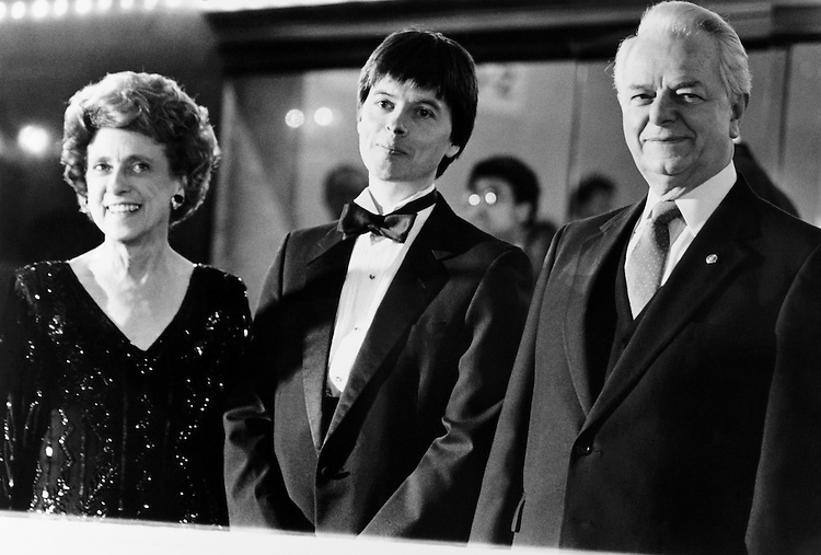 "Rep. Marie Corinne Morrison Claiborne Boggs, D-La., Kenneth Lauren ""Ken"" Burns, and Sen. Robert Carlyle ""Bob"" Byrd, D-W.Va., in a movie of Congress. March 16, 1990 (Photo by Laura Patterson/CQ Roll Call)"