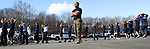 WATERBURY CT. 16 March 2018-031619SV01-Staff Sgt. Jesus Torres of the United States Marines runs 50 recruits threw a workout session outside Universal Fitness on Watertown Avenue in Waterbury Saturday. Most of the area recruits were getting ready to head off to boot camp or were thinking of signing up for service.<br /> Steven Valenti Republican-American