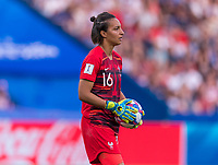 PARIS,  - JUNE 28: Sarah Bouhaddi #16 holds the balls during a game between France and USWNT at Parc des Princes on June 28, 2019 in Paris, France.