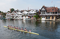 """Henley on Thames, United Kingdom, 4th July 2018, Thursday, View, Heat of the """"Temple Challenge Cup"""", """"Brown University"""", drift beyond the finish, line after defeating Eton College, in their heat, second day of the, annual,  """"Henley Royal Regatta"""", Henley Reach, River Thames, Thames Valley, England, © Peter SPURRIER,"""