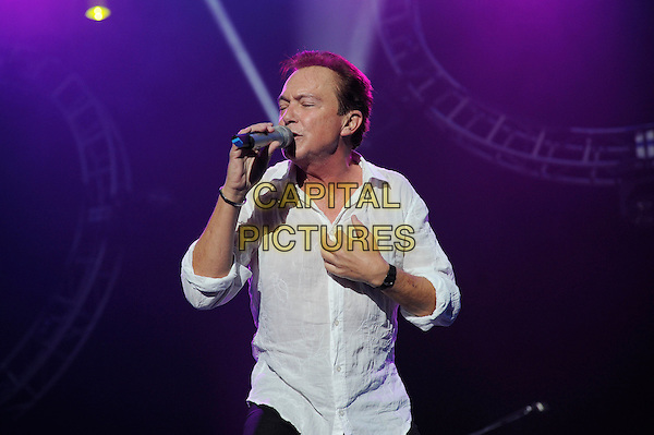 David Cassidy.Performing live in concert as part of the Once In A Lifetime Tour, Wembley Arena, London, England, England..11th November 2012.on stage in concert live gig performance performing music half length white shirt  hand arm microphone singing.CAP/MAR.© Martin Harris/Capital Pictures.