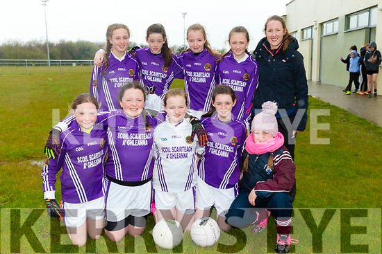 Allianz Cumann na mBunscol  Schools Mini Sevens County finals at  John Mitchels sports complex on Monday - Scartaglen N.S.  Front l-r Orlaith Buckley, Ciara Casey,  Máire Collins, Muireann Rahilly, Jessica Riordan Back L-r Muireann Walsh, Shauna Tangney,  Abbie Mahony, Emma Kerin Coach Miss O'Connor