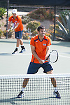 April 23, 2015; San Diego, CA, USA; Pepperdine Waves tennis players Rakshay Thakkar (left) and Guilherme Hadlich (right) during the WCC Tennis Championships at Barnes Tennis Center.