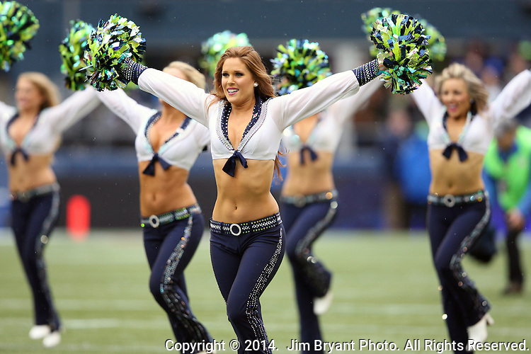 Seattle Seahawks  dance team, the Seagals perform during the game against the Oakland Raiders at CenturyLink Field in Seattle, Washington on November 2, 2014.    The Seahawks beat the Raiders 30-24 in Seattle. ©2014. Jim Bryant Photo. All rights Reserved.