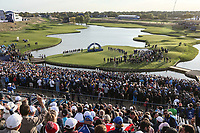 EUROPE WIN. View of 18 green after the Sunday's Singles, at the Ryder Cup, Le Golf National, &Icirc;le-de-France, France. 30/09/2018.<br /> Picture David Lloyd / Golffile.ie<br /> <br /> All photo usage must carry mandatory copyright credit (&copy; Golffile | David Lloyd)