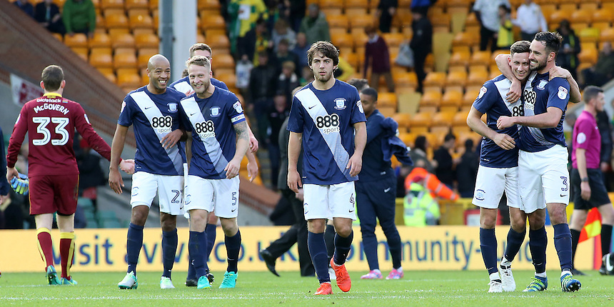 Preston North End players celebrate at the final whistle<br /> <br /> Photographer David Shipman/CameraSport<br /> <br /> The EFL Sky Bet Championship - Norwich City v Preston North End - Saturday 22nd October 2016 - Carrow Road - Norwich<br /> <br /> World Copyright &copy; 2016 CameraSport. All rights reserved. 43 Linden Ave. Countesthorpe. Leicester. England. LE8 5PG - Tel: +44 (0) 116 277 4147 - admin@camerasport.com - www.camerasport.com