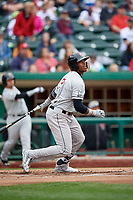 Wisconsin Timber Rattlers center fielder Monte Harrison (3) follows through on a swing during a game against the Fort Wayne TinCaps on May 10, 2017 at Parkview Field in Fort Wayne, Indiana.  Fort Wayne defeated Wisconsin 3-2.  (Mike Janes/Four Seam Images)