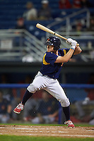 State College Spikes outfielder Craig Aikin (12) at bat aduring a game against the Batavia Muckdogs August 23, 2015 at Dwyer Stadium in Batavia, New York.  State College defeated Batavia 5-3.  (Mike Janes/Four Seam Images)