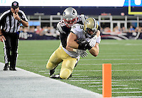 Thursday August 11, 2016: New England Patriots linebacker Shea McClellin (58) drags down New Orleans Saints defensive back Tony Carter (29) during an NFL pre-season game between the New Orleans Saints and the New England Patriots held at Gillette Stadium in Foxborough Massachusetts. The Patriots defeat the Saints 34-22 in regulation time. Eric Canha/CSM