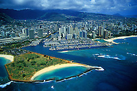 Aerial view of Waikiki yacht harbor and Magic Island in Honolulu