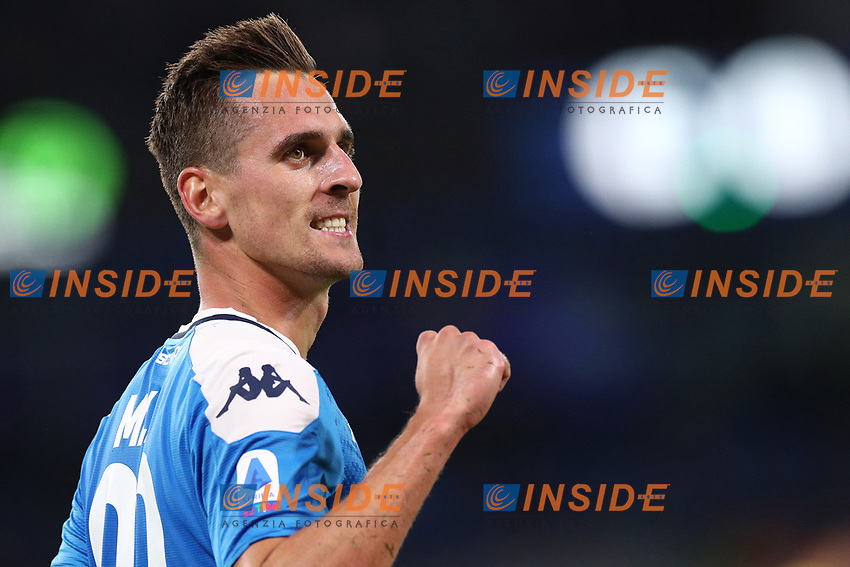 Arkadiusz Milik of Napoli celebrates after scoring a goal<br /> Napoli 19-10-2019 Stadio San Paolo <br /> Football Serie A 2019/2020 <br /> SSC Napoli - Hellas Verona FC<br /> Photo Cesare Purini / Insidefoto