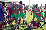 Fellow Waiuku players arrive to congratulate Ra Garmonsway after he scored the match winning try late in the game. Counties Manukau Premier Club Rugby game between Waiuku & Ardmore Marist played at Waiuku on Saturday 20th June, 2009. Waiuku won the game 28 - 25.