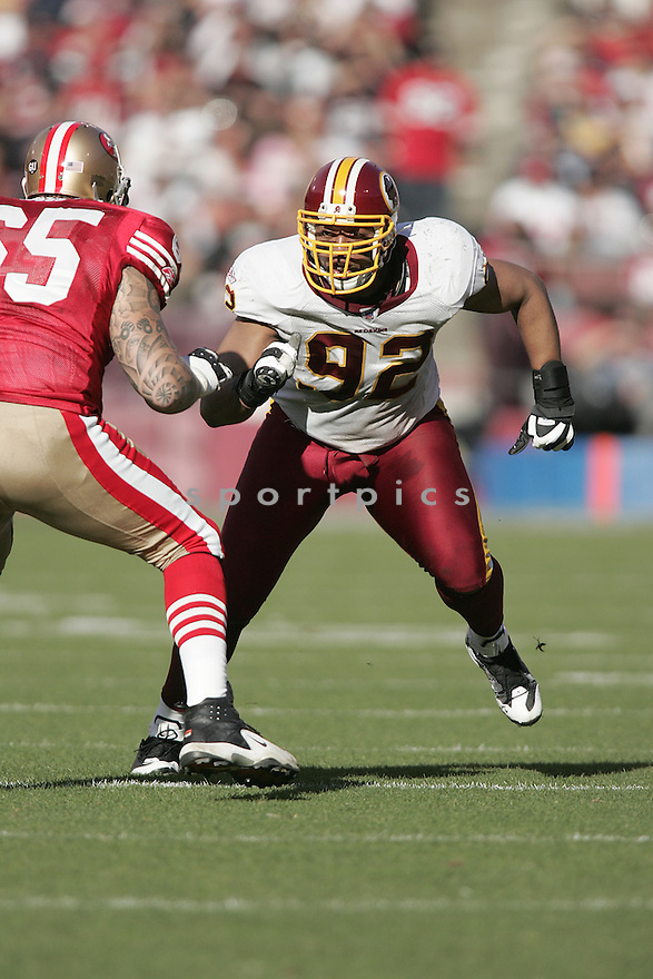 DEMETRIC EVANS, of the Washington Redskins , in action  during the 49ers game against the  San Francisco 49ers  on December 28, 2008 in San Francisco, CA...49ers win 27-24