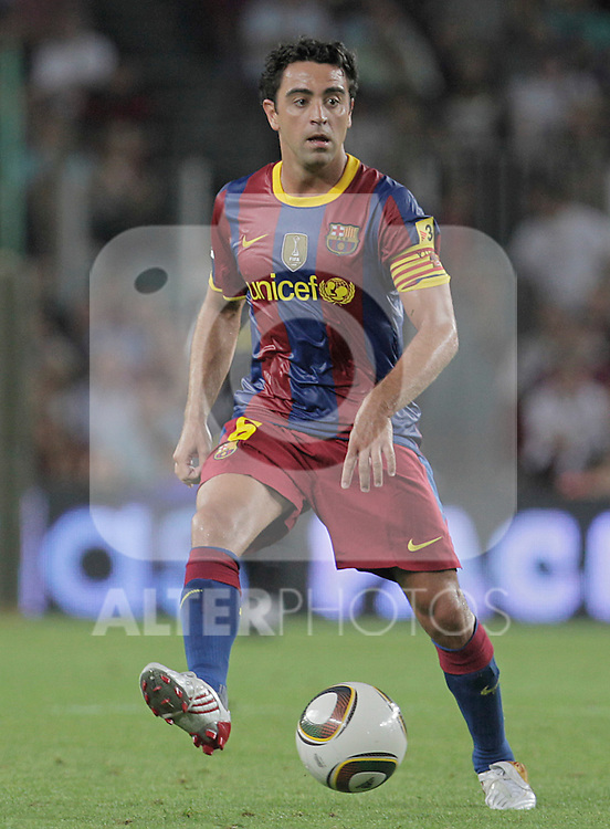 FC Barcelona's Xavi Hernandez during SuperCup of Spain Final match. August 21,2010. (ALTERPHOTOS/Acero)
