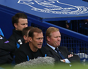 9th September 2017, Goodison Park, Liverpool, England; EPL Premier League Football, Everton versus Tottenham; Ronald Koeman, manager of Everton and his assistant Ferguson look on ruefully from the dugout as their team trail 0-3