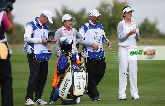 Sandra Gal (GER) plays second shot to the 8th during Saturday morning's Foursomes, at The Solheim Cup 2015 played at Golf Club St. Leon-Rot, Mannheim, Germany.  19/09/2015. Picture: Golffile   David Lloyd<br /> <br /> All photos usage must carry mandatory copyright credit (&copy; Golffile   David Lloyd)