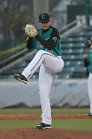 Coastal Carolina Chanticleers pitcher Ryan Connolly #38 on the mound during a game against the North Carolina State Wolfpack at BB&T Coastal Field on February 26, 2012 in Myrtle Beach, SC.  Coastal Carolina defeated N.C. State 3-2. (Robert Gurganus/Four Seam Images)
