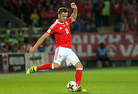 Andy King of Wales crosses the ball during the 2018 FIFA World Cup Qualifier between Wales and Moldova at the Cardiff City Stadium on September 5, 2016 in Cardiff, Wales.