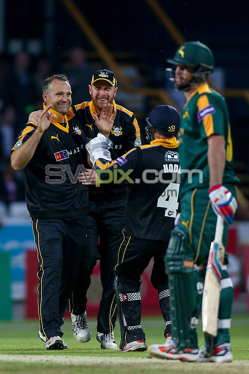 Picture by Alex Whitehead/SWpix.com - 19/06/2015 - Cricket - NatWest T20 Blast - Yorkshire Vikings v Nottinghamshire Outlaws - Headingley Cricket Ground, Leeds, England - Yorkshire's James Middlebrook celebrates with team-mates.