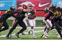Hawgs Illustrated/BEN GOFF <br /> Missouri defenders bring down Devwah Whaley, Arkansas running back, in the third quarter Saturday, Nov. 29, 2019, at War Memorial Stadium in Little Rock.