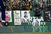 PORTLAND, OR - MARCH 01: Tribute banner to Portland Timbers legend Jimmy Conway who passed away on February 14, 2020 during a game between Minnesota United FC and Portland Timbers at Providence Park on March 01, 2020 in Portland, Oregon.