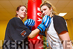Heather Farrimond and Hilary Costello help launch the White Collar boxing competition in aid of the Samaritans at the IT Tralee South Campus on Tuesday